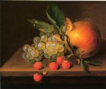 george forster famous paintings - still life with grapes apple and strawberries by george forster