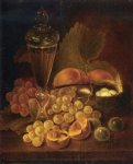 george forster famous paintings - still life with grapes peaches decanter and nest of eggs by george forster