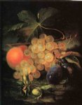 george forster famous paintings - still life with plum and peach by george forster