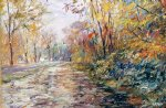 george gallo art - autumn on the towpath by george gallo