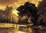 george inness art - fisherman in a stream by george inness
