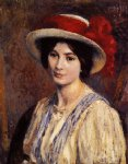 georges lemmen artwork - hat with a red ribbon by georges lemmen
