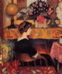 georges lemmen acrylic paintings - madame lemmen in a flowery interior by georges lemmen