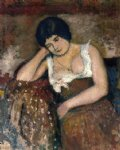 georges lemmen acrylic paintings - seated woman by georges lemmen