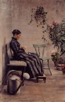georges lemmen artwork - the knitter by georges lemmen