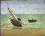 georges seurat original paintings - boats bateux maree basse grandcamp by georges seurat