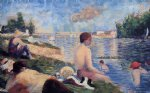 final study for bathing at asnieres by georges seurat painting