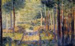 georges seurat forest path barbizon painting