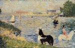 georges seurat horses in the water painting 33534