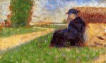 large figure in a landscape by georges seurat painting