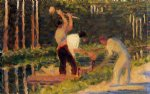 georges seurat famous paintings - men laying stakes by georges seurat