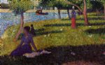 seated and standing woman by georges seurat painting