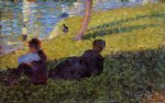 georges seurat original paintings - seated man reclining woman by georges seurat