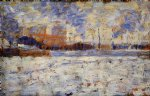 georges seurat original paintings - snow effect winter in the suburbs by georges seurat
