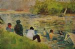 georges seurat original paintings - the bank of the seine by georges seurat