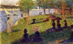 georges seurat famous paintings - woman fishing and seated figures by georges seurat