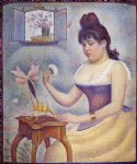 georges seurat young woman powdering herself painting