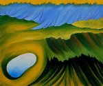 georgia o keeffe acrylic paintings - mountains and lake by georgia o keeffe