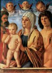 giovanni bellini acrylic paintings - madonna with child and sts peter and sebastian by giovanni bellini