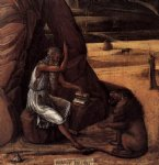 giovanni bellini watercolor paintings - st jerome in the desert detail by giovanni bellini