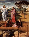 transfiguration of christ detail by giovanni bellini painting