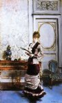 a lady admiiring a fan by giovanni boldini acrylic paintings