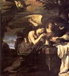 guercino art - magdalen and two angels by guercino