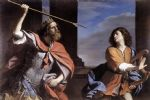 guercino art - saul attacking david by guercino
