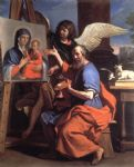 guercino art - st luke displaying a of the virgin by guercino