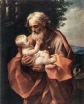 jesus watercolor paintings - st joseph with the infant jesus by guido reni