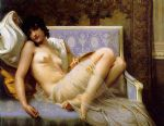 guillaume seignac acrylic paintings - jeune femme denudee sur canape by guillaume seignac