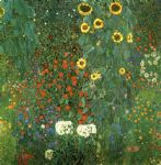 gustav klimt country garden with sunflower paintings