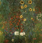 gustav klimt country garden with sunflowers paintings
