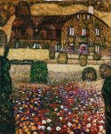 country house by the attersee by gustav klimt painting
