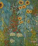 farm original paintings - farm garden with sunflowers ii by gustav klimt