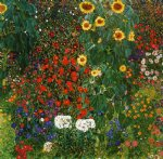 farm original paintings - farm garden with sunflowers by gustav klimt