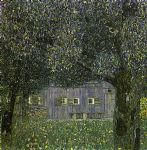 farm watercolor paintings - farmhouse in upper austria by gustav klimt