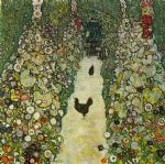 garden path with chickens by gustav klimt painting