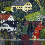 house watercolor paintings - houses at unterach on the attersee by gustav klimt