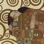 gustav klimt the embrace (detail  square) painting