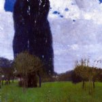 the tall poplar trees ii by gustav klimt painting