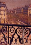 gustave caillebotte art - a balcony in paris by gustave caillebotte