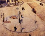 gustave caillebotte art - a traffic island boulevard haussmann by gustave caillebotte