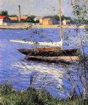 gustave caillebotte art - anchored boat on the seine at argenteuil by gustave caillebotte