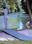 gustave caillebotte art - bather preparing to dive banks of the yerres by gustave caillebotte