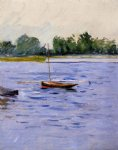 gustave caillebotte art - boat at anchor on the seine by gustave caillebotte