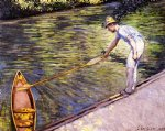 gustave caillebotte art - boater pulling on his perissoire by gustave caillebotte