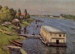 house watercolor paintings - boathouse in argenteuil by gustave caillebotte