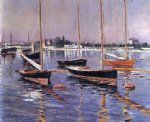 gustave caillebotte art - boats on the seine at argenteuil by gustave caillebotte