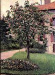 pet art - petit gennevilliers facade southeast of the artist s studio overlooking the garden spring by gustave caillebotte